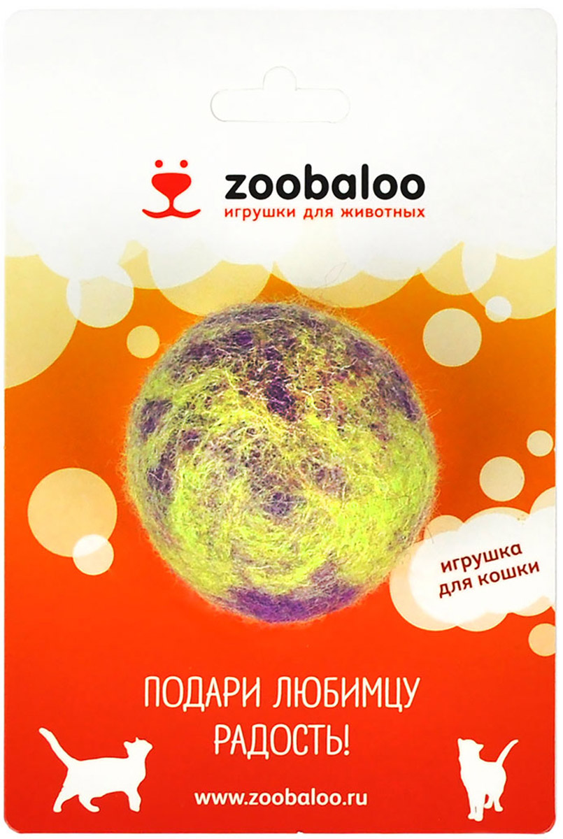Игрушка для животных Zoobaloo Шерстяной мяч Фьюжн, цвет: фиолетовый, зеленый. 363 игрушки для животных zoobaloo игрушка для кошки бамбук плюшевый мяч на резинке 60см