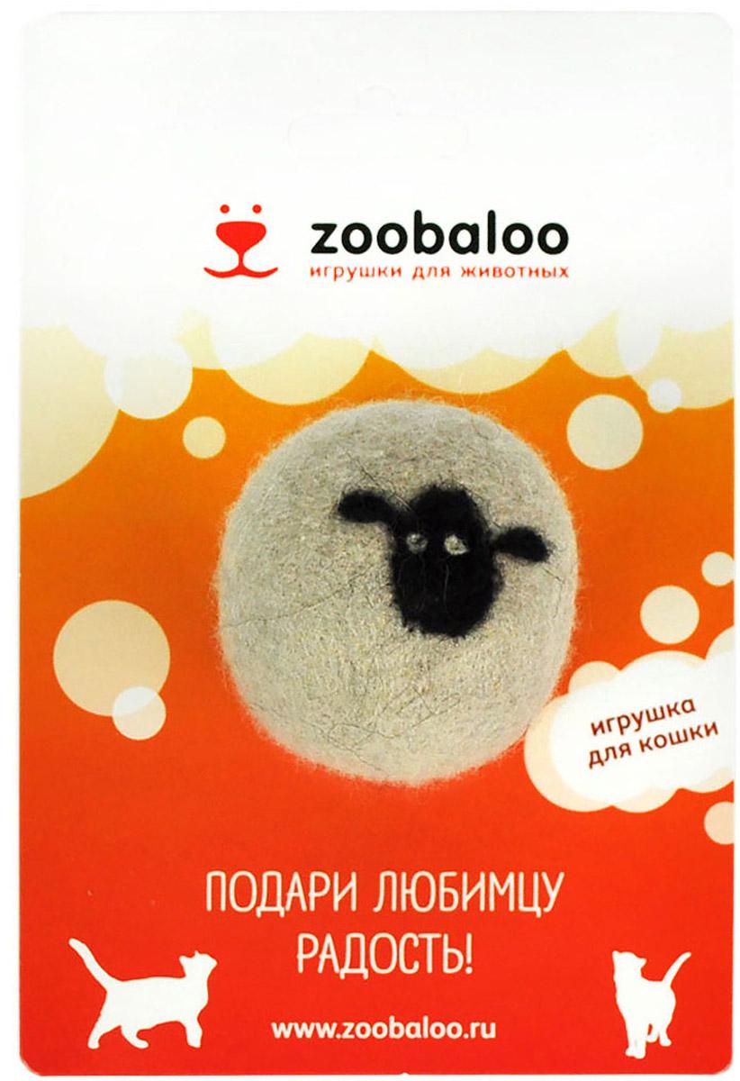Игрушка для животных Zoobaloo Шерстяной мяч Овечка, цвет: белый. 366 игрушки для животных zoobaloo игрушка для кошки бамбук плюшевый мяч на резинке 60см