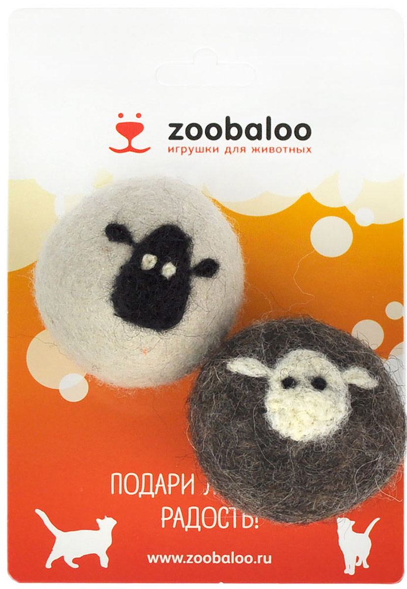 Игрушка для животных Zoobaloo Набор шерстяных мячей Овечка, цвет: белый, серый, 2 шт игрушки для животных zoobaloo игрушка для кошки бамбук плюшевый мяч на резинке 60см
