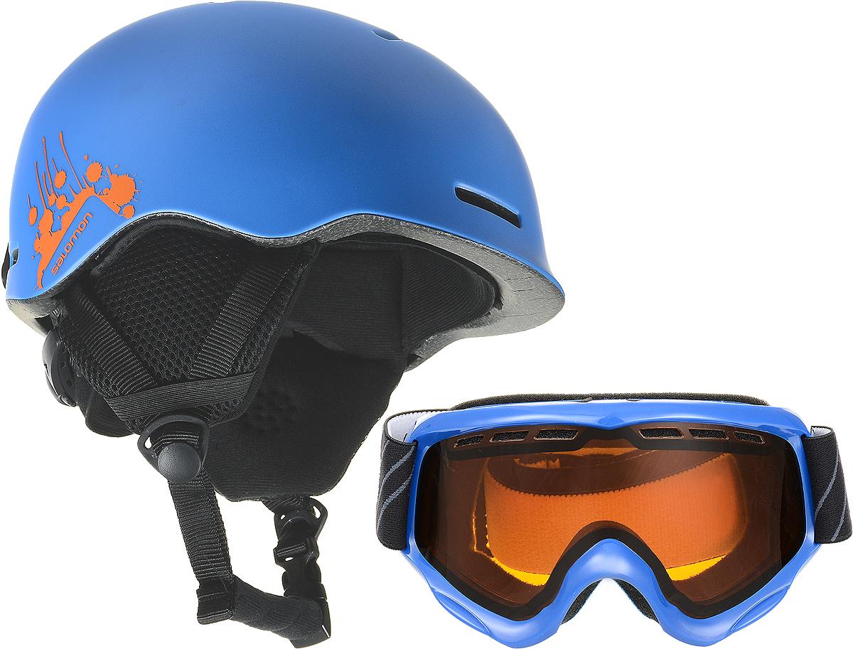 Шлем горнолыжный Salomon Combo Grom/Juke Boy. Размер S (49/53)L40167500Детский комплект из очень легкого шлема с регулировкой размера custom dial и маски с продуманной системой вентиляции Airflow, которая оптимальным образом распределяет потоки воздуха, оставляя внутреннюю часть линзы сухой, предотвращая запотевание, а сама форма маски с широким углом обзора сконструирована специально для небольших лиц юных райдеров.Как выбрать горные лыжи для ребёнка. Статья OZON Гид