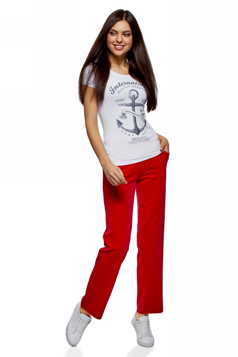 Брюки спортивные женские oodji Ultra, цвет: красный. 16701056B/47883/4500N. Размер XL (50)
