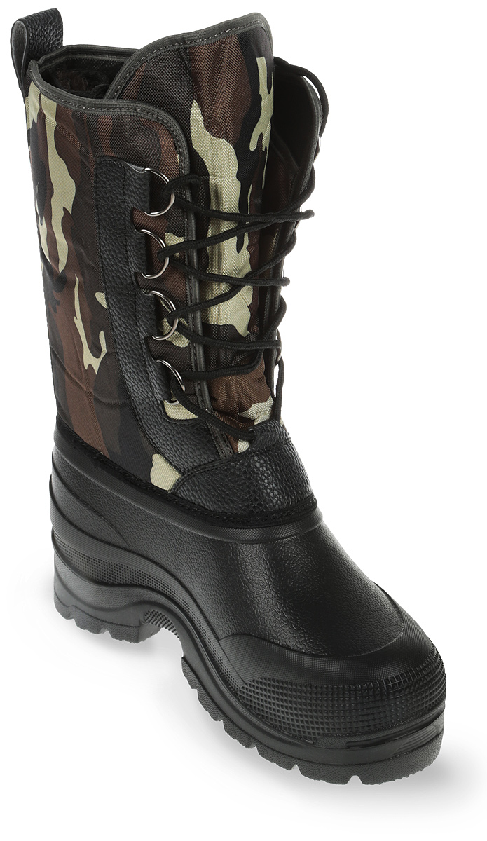 Сапоги зимние EVA Shoes Милитари (-40), цвет: черный, камуфляж. Размер 4359121Легкие и теплые зимние сапоги EVA Shoes Милитари (-40) отлично подойдут дляохоты и рыбалки в зимнее время года. Галоша сапог выполнена изэтилвинилацетата (ЭВА), это гибкий, эластичный, износостойкий,водонепроницаемый материал, а кроме того, легкий, поэтому сапоги имеютнебольшой вес. Верх изготовлен из непромокаемого плотного оксфорда,дублированного поролоном. Съемная внутренняя поверхность выполнена изнатурального меха и отделана фольгой и спанбондом для сохранения тепла.Специальная рифленая подошва создает отличное сцепление с любойповерхностью. Шнуровка обеспечивает плотное облегание голенища по ноге.Обувь предназначена как для сырой холодной погоды, так и для сильных морозов.Сапоги обеспечивают высокий уровень тепла и комфорта даже в мороз до -40°С.На голенище расположен небольшой карман на липучке.