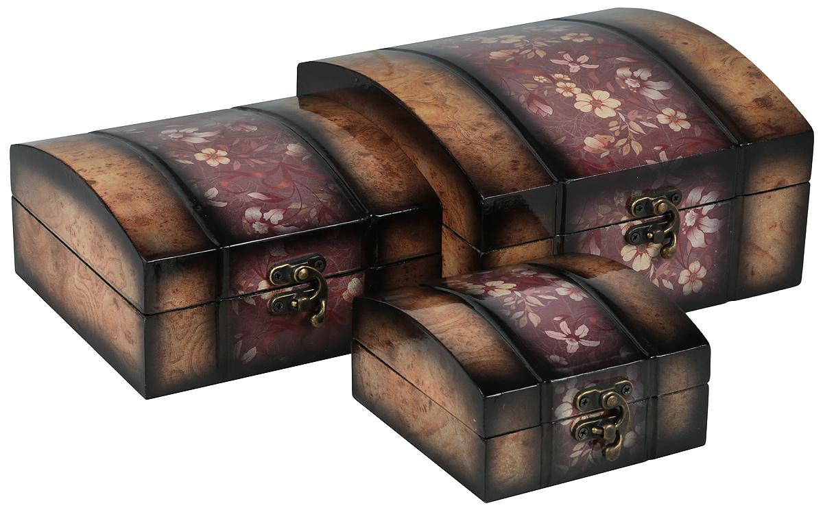 Набор сундучков Roura Decoracion, 3 шт. 3479234792Набор сундучков Roura Decoracion станет полезным и особо желанным подарком для женщин, так как в них можно хранить что угодно, будь то инструменты для рукоделия, украшения или просто маленькие женские секреты. Набор состоит из трех предметов.Правила ухода: регулярно удалять пыль сухой, мягкой тканью.
