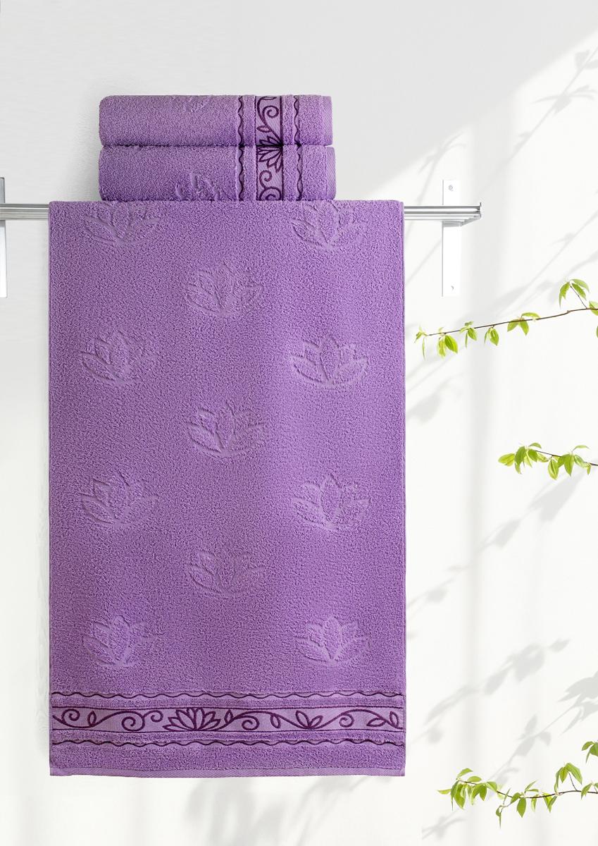 Полотенце махровое Aquarelle Лотос, цвет: аметистовый, 50 x 90 см полотенце махровое aquarelle таллин 1 цвет ваниль 50 х 90 см 707762
