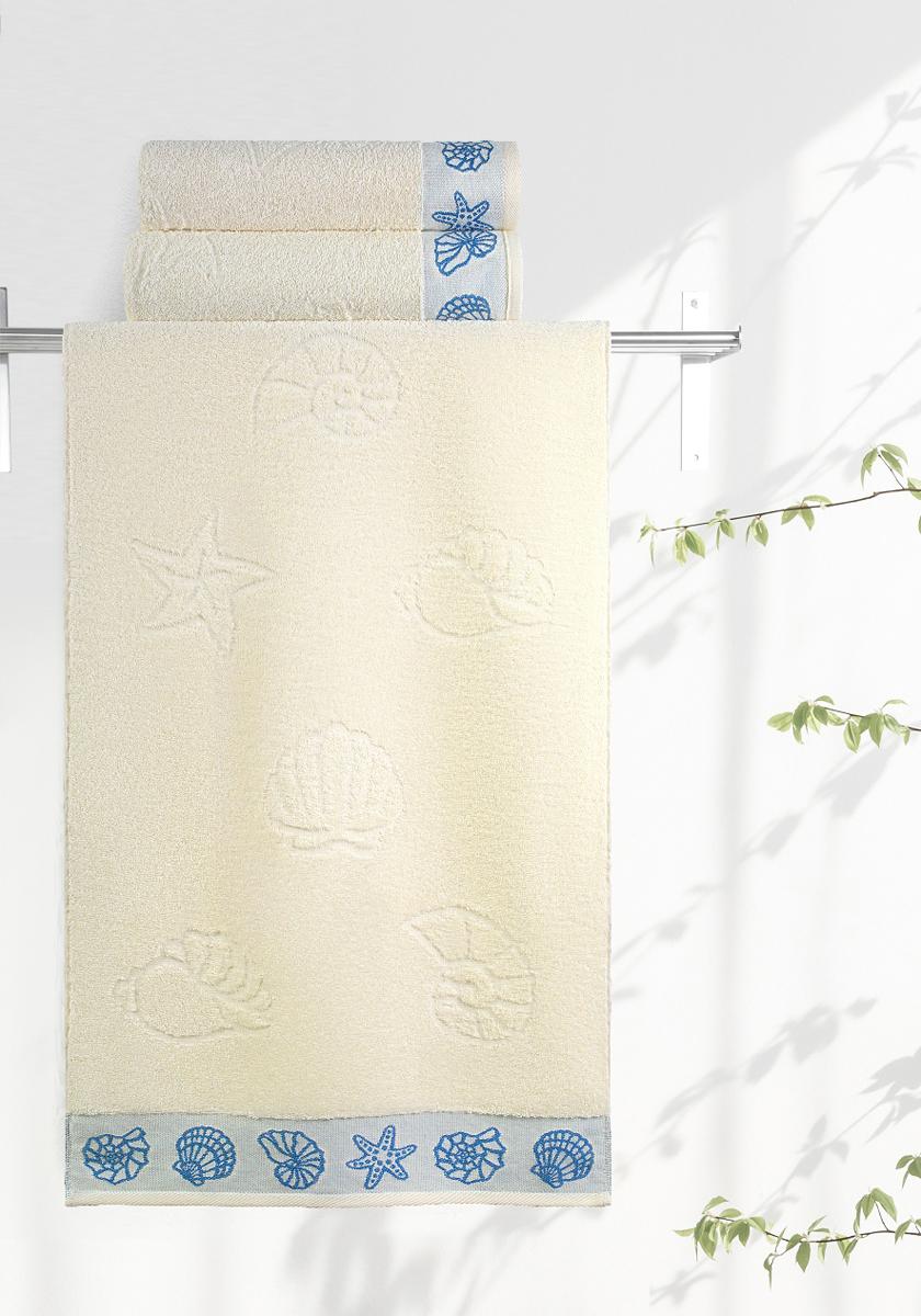 Полотенце махровое Aquarelle Ракушки, цвет: ваниль, 50 x 90 см bon appetit кухонное полотенце aquarelle 38х63 см