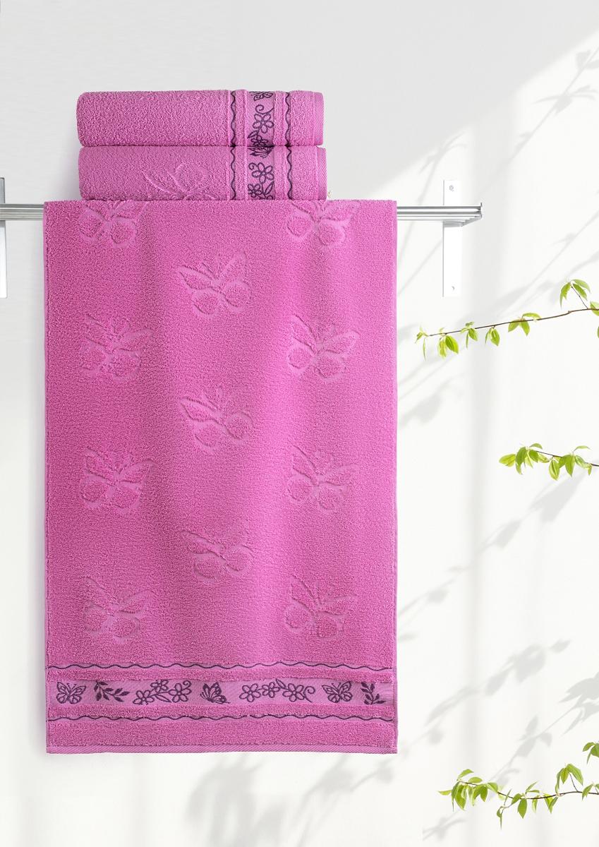Полотенце махровое Aquarelle Бабочки, цвет: орхидея, 70 x 140 см bon appetit кухонное полотенце aquarelle 38х63 см