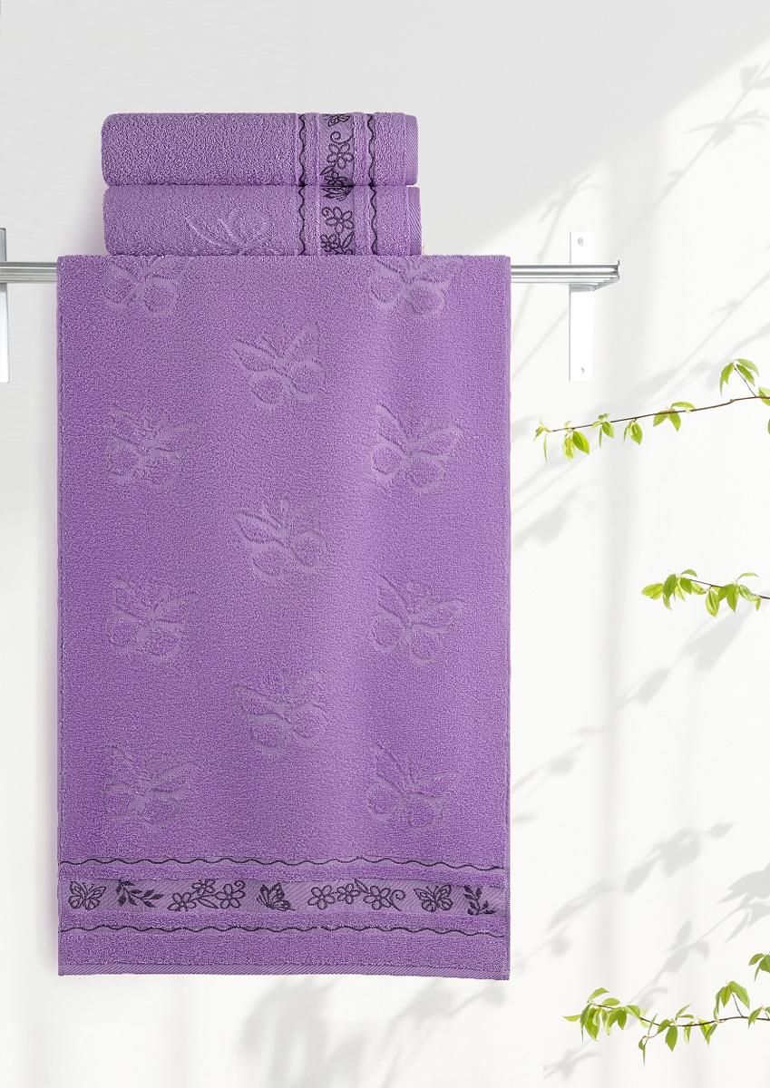 Полотенце махровое Aquarelle Бабочки, цвет: аметистовый, 35 x 70 см708918Махровое полотенце Aquarelle Бабочки неотъемлемая часть повседневного быта, оно создает дополнительные акценты в ванной комнате. Продукция производится из высококачественных материалов.