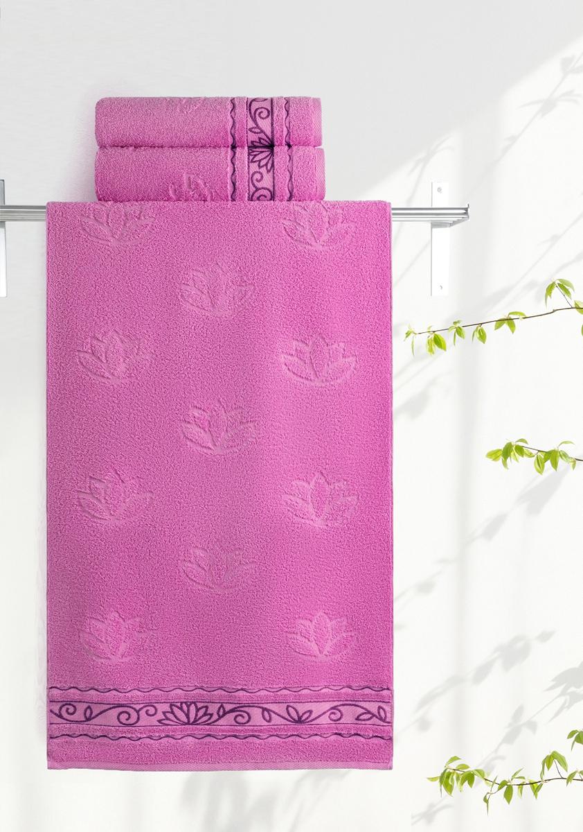 Полотенце махровое Aquarelle Лотос, цвет: орхидея, 35 x 70 см bon appetit кухонное полотенце aquarelle 38х63 см