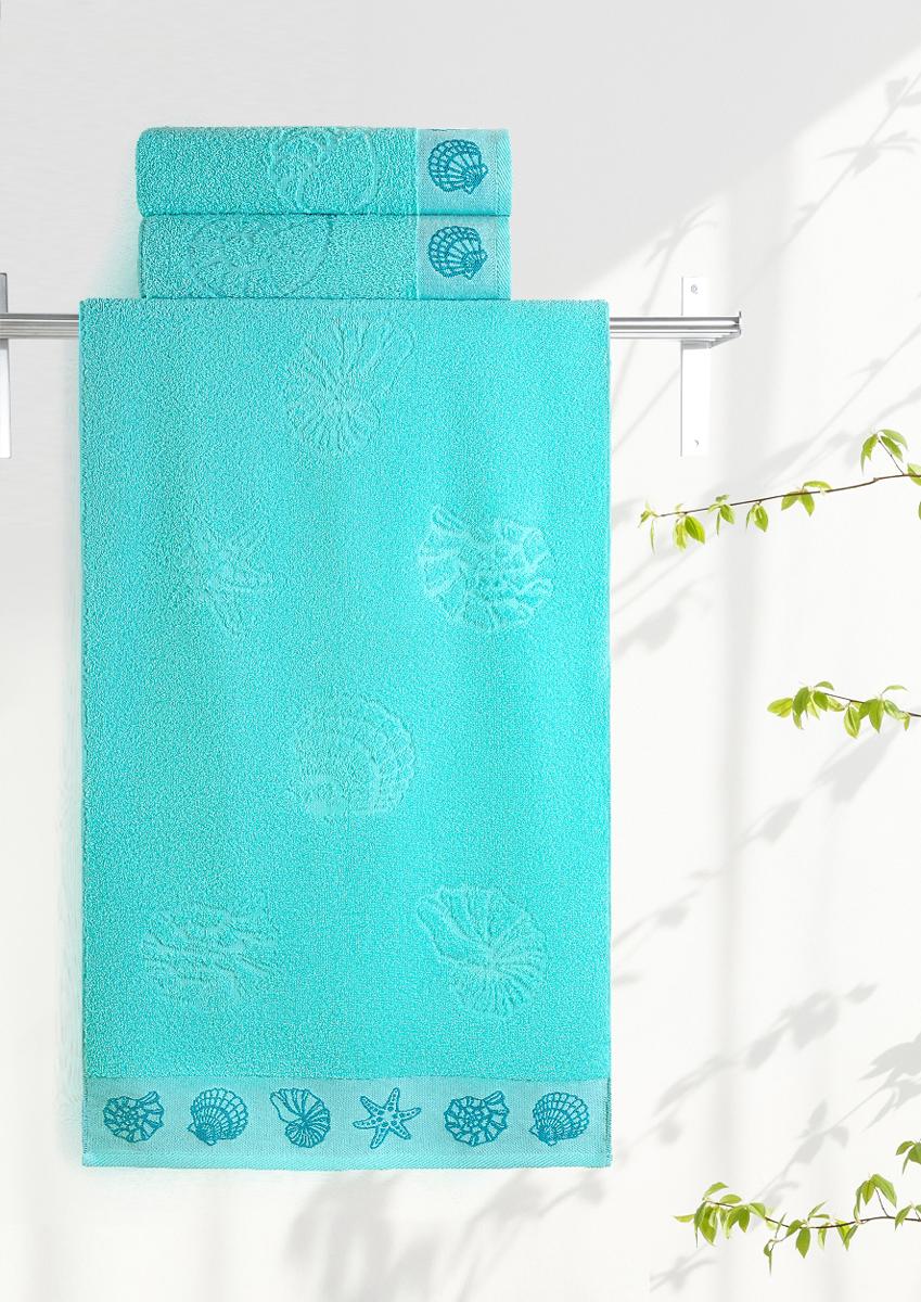 Полотенце махровое Aquarelle Ракушки, цвет: аква, 35 x 70 см708924Махровое полотенце Aquarelle Ракушки неотъемлемая часть повседневного быта, оно создает дополнительные акценты в ванной комнате. Продукция производится из высококачественных материалов.