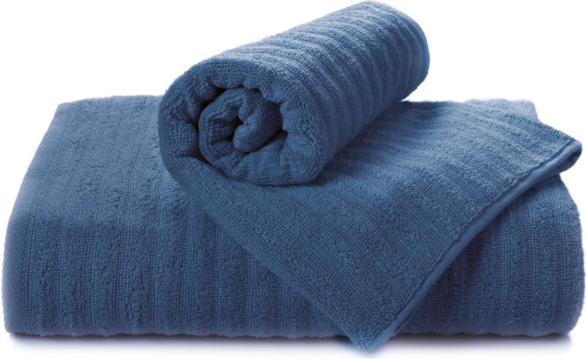 Полотенце махровое Aquarelle Волна, цвет: темно-синий, 50 x 90 см полотенце махровое aquarelle таллин 1 цвет ваниль 50 х 90 см 707762