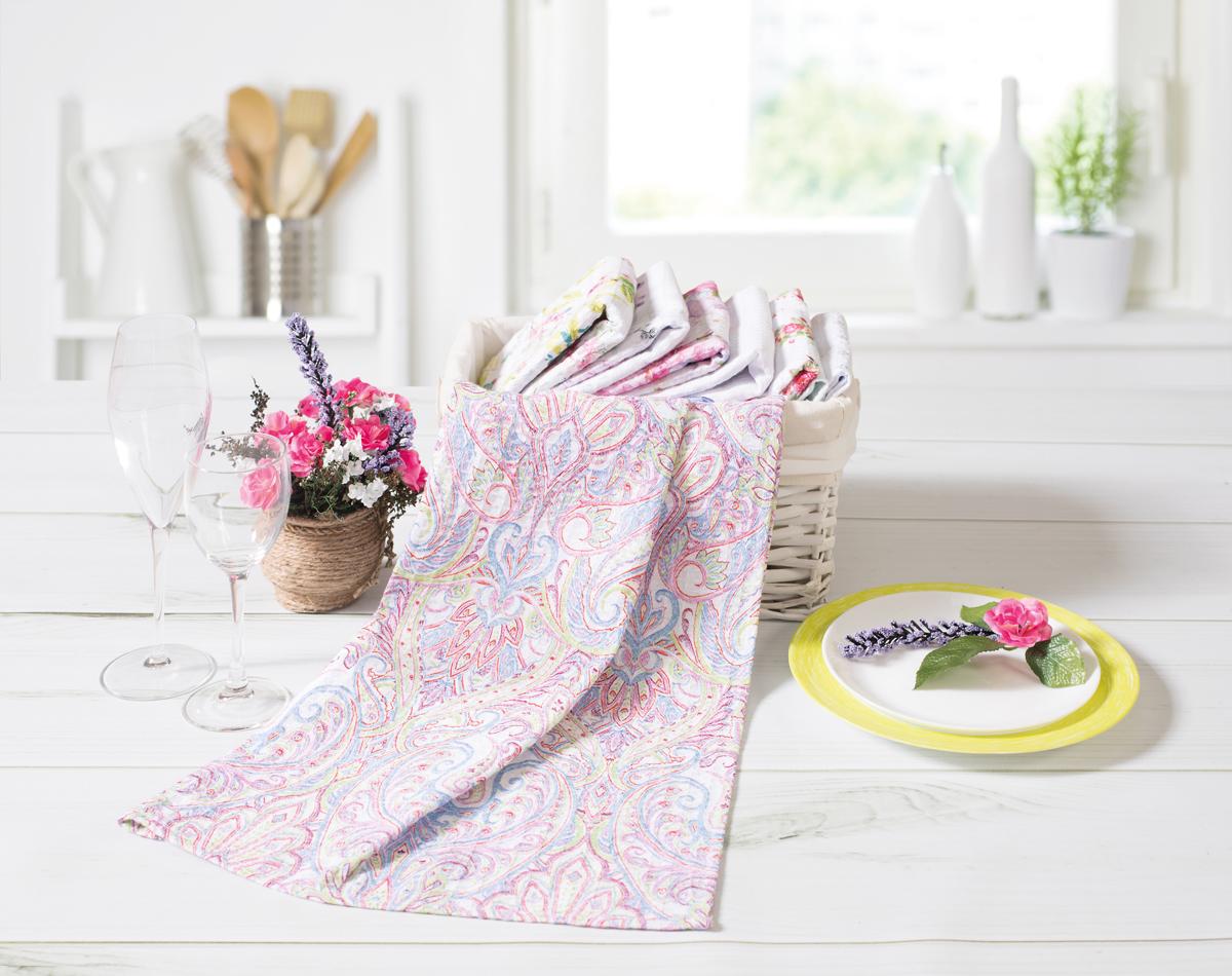 Полотенце вафельное Солнечный дом, цвет: розовый, голубой, 40 x 70 см. 719441 полотенце вафельное солнечный дом 40 х 70 см цвет бежевый