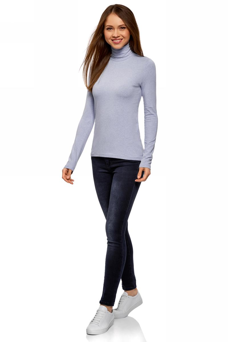 Водолазка женская oodji Ultra, цвет: голубой меланж. 15E02001B/46147/7000M. Размер M (46)15E02001B/46147/7000MБазовая женская водолазка oodji Ultra выполнена из эластичной хлопковой ткани. У модели воротник-гольф и стандартные длинные рукава.