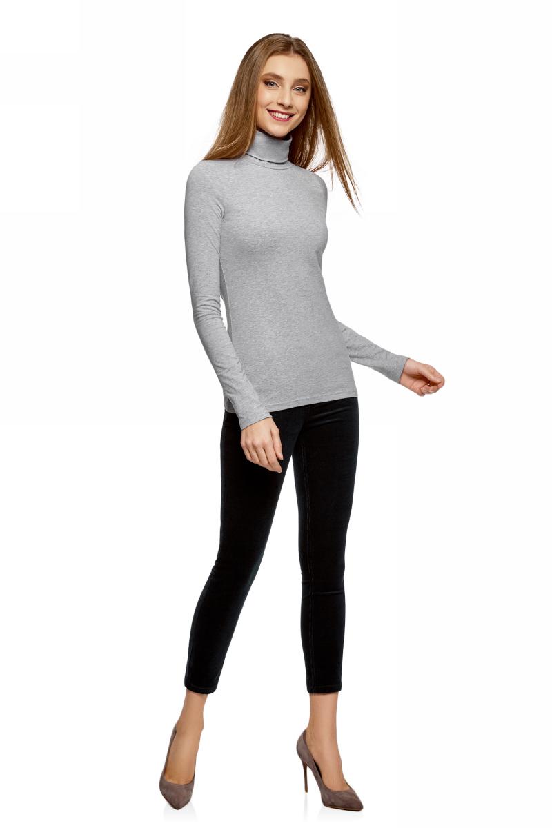 Водолазка женская oodji Ultra, цвет: светло-серый меланж. 15E02001B/46147/2001M. Размер XS (42)