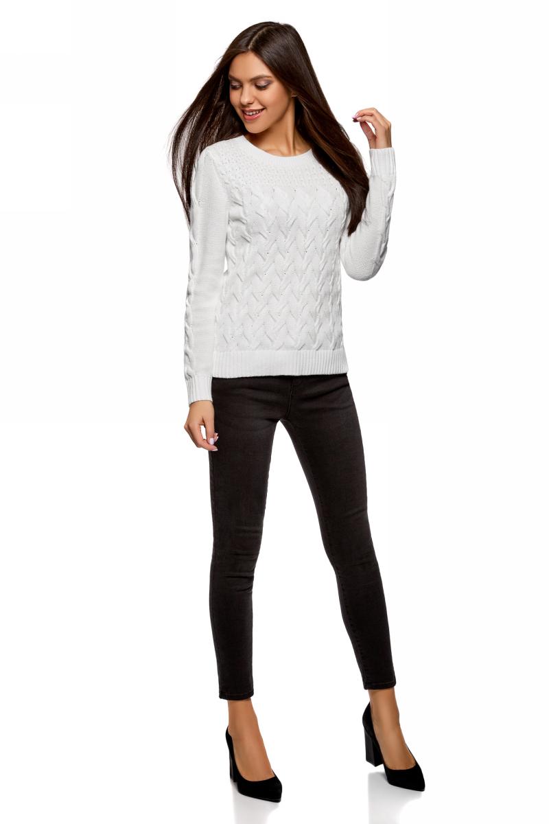 Джемпер женский oodji Ultra, цвет: белый. 63807327/47703/1000N. Размер M (46) пуловеры oodji пуловер