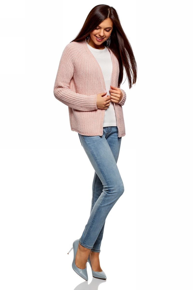 Кардиган женский oodji Ultra, цвет: светло-розовый. 63201002/47937/4000N. Размер XL (50) кардиган женский oodji ultra цвет светло розовый 63201002 47937 4000n размер s 44