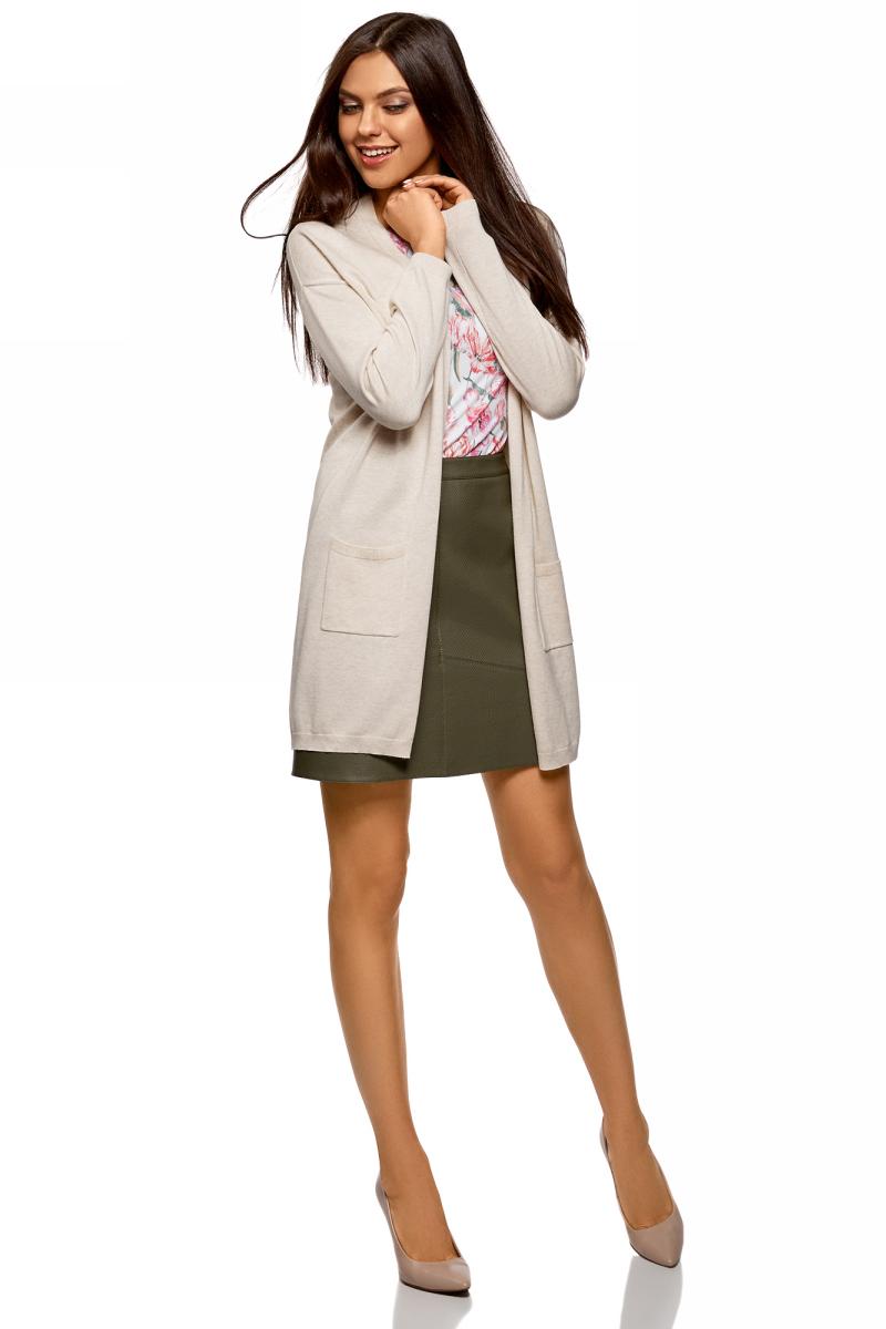 Кардиган женский oodji Ultra, цвет: белый меланж. 63212572/18239/1200M. Размер L (48)63212572/18239/1200MТрикотажный удлиненный кардиган oodji изготовлен из качественного смесового материала. Модель выполнена без застежки и дополнена накладными карманами.