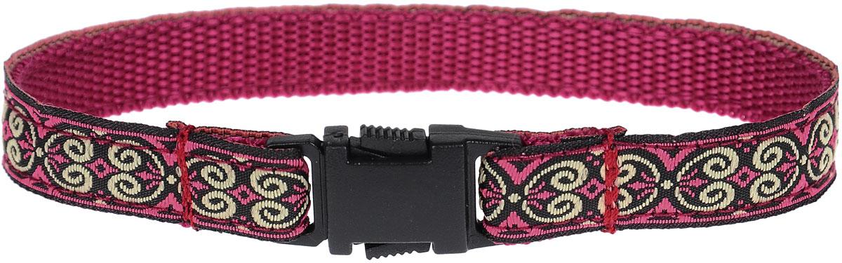 Фото - Ошейник для животных GLG, цвет: бордовый, черный, длина 22 см ошейник серебряный