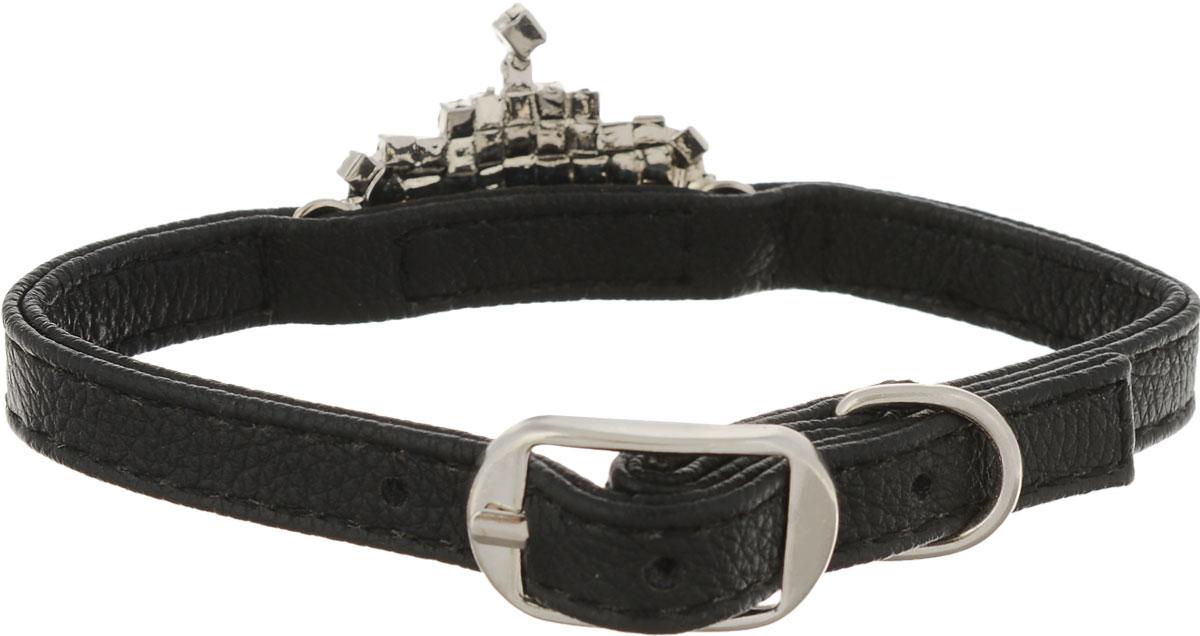 Ошейник для собак GLG, цвет: черный, 1 x 30 смAM-DC023-30_черныйОшейник GLG изготовлен из искусственной кожи. Клеевой слой, сверхпрочные нити, крепкие металлические элементы делают ошейник надежным и долговечным. Изделие отличается высоким качеством, удобством и универсальностью.Размер ошейника регулируется при помощи металлической пряжки. Имеется металлическое кольцо для крепления поводка. Ваша собака тоже хочет выглядеть стильно! Модный ошейник, с металлическимэлементам в виде короны со стразами, станет для питомца отличным украшением и выделит его среди остальных животных. Обхват шеи: 30 см. Ширина: 1 см.
