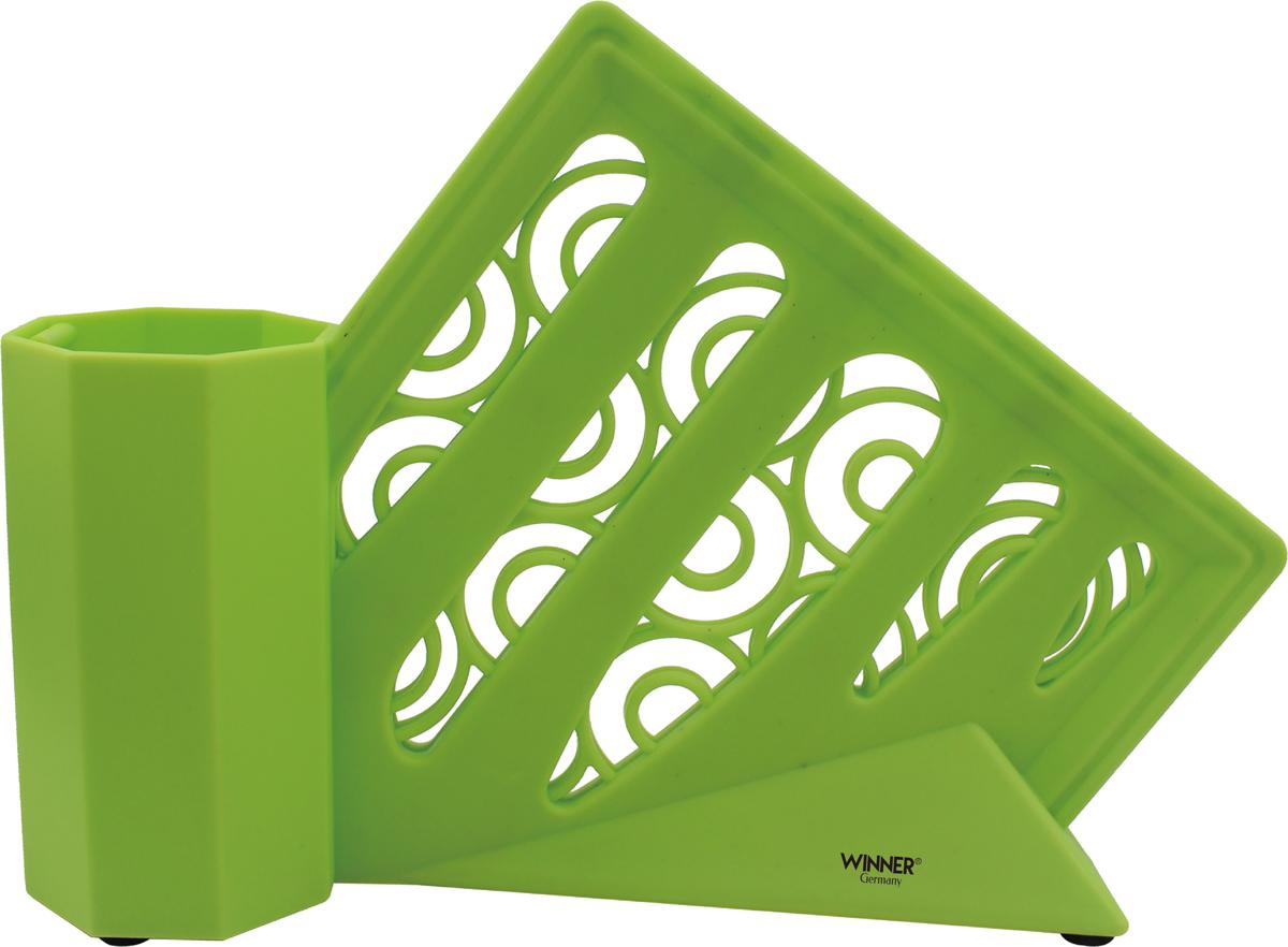 """Двойная подставка для ножей """"Winner"""" предназначена для безопасного и гигиеничного хранения металлических и керамических ножей, сохраняет остроту лезвий и продлевает срок службы. Материал корпуса: пластик.Размер: 33,5 х 8,5 х 24 см. Подходит для чистки в посудомоечной машине."""