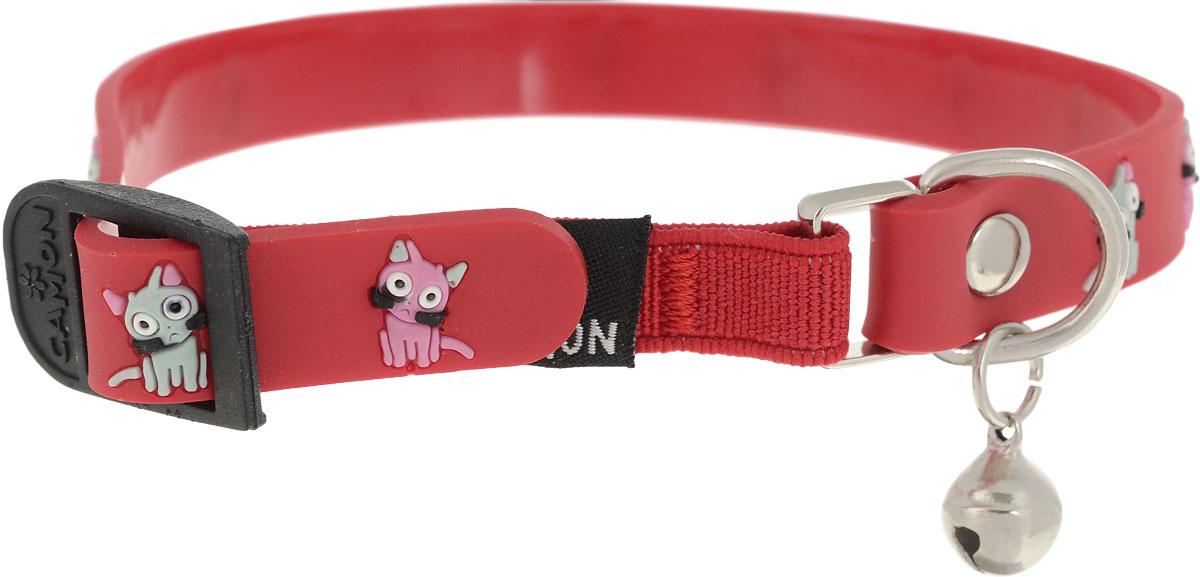 Ошейник для кошек Camon, цвет: красный, 1,2 x 30 смDG010/A_красныйОшейник для кошек Camonс оригинальным дизайном изготовлен из нейлона и высококачественного пластика. Сверхпрочные нити делают ошейник надежным и долговечным. Ошейник отличается высоким качеством, удобством и универсальностью.