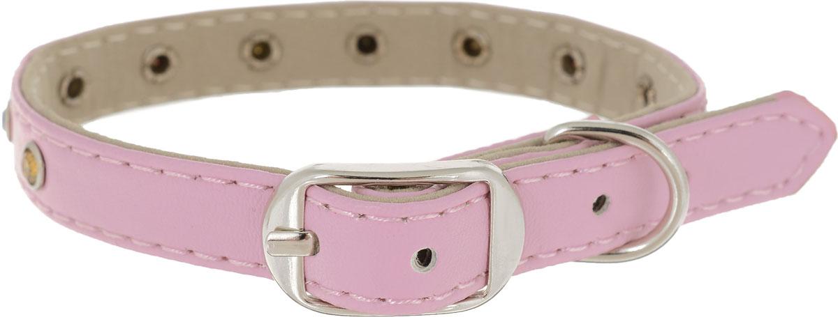 Ошейник для животных GLG, цвет: розовый, ширина 1,2 см, обхват шеи 24-27 смAM-D778/A-30_розовыйОшейник для собак GLG изготовлен из искусственной кожи, устойчивой к влажности и перепадам температур. Клеевой слой, сверхпрочные нити, крепкие металлические элементы делают ошейник надежным и долговечным.Изделие отличается высоким качеством, удобством и универсальностью. Ошейник украшен цветными стразами.Размер ошейника регулируется при помощи пряжки, зафиксированной на одном из 5 отверстий. Минимальный обхват шеи: 24 см. Максимальный обхват шеи: 27 см. Ширина: 1,2 см.