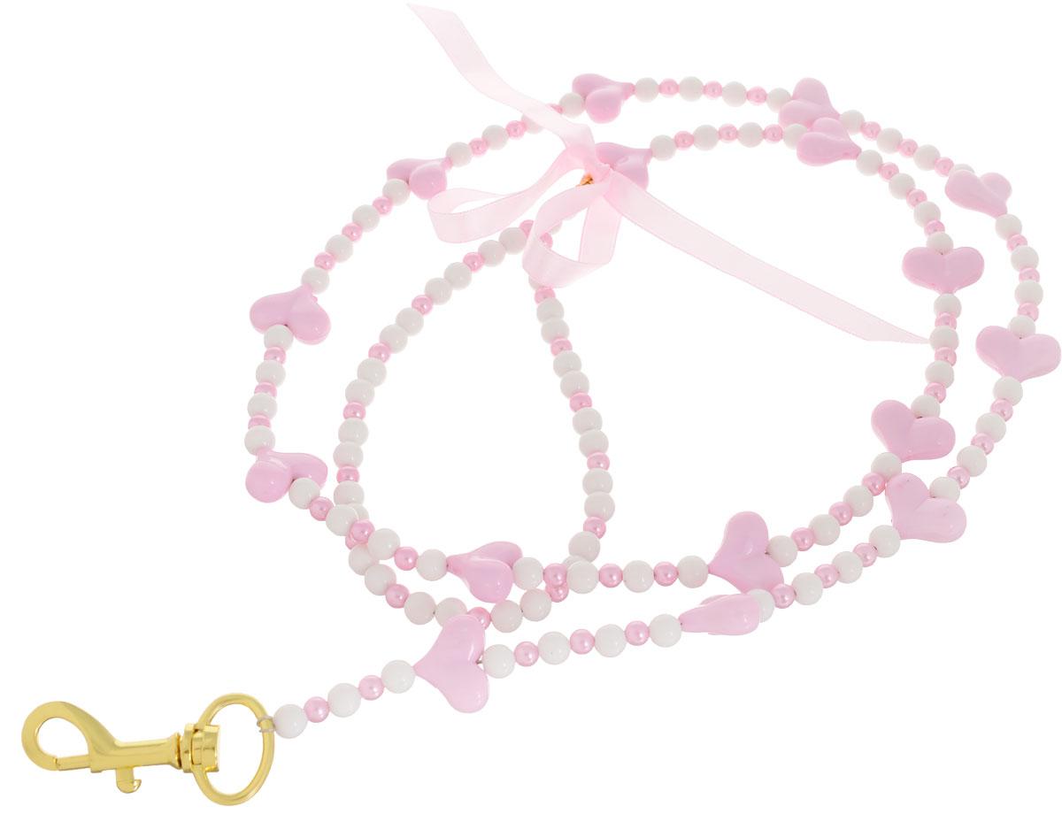 Поводок для собак Camon Бусы, сердечки, цвет: розовый, 120 см поводок безопасности для ребенка