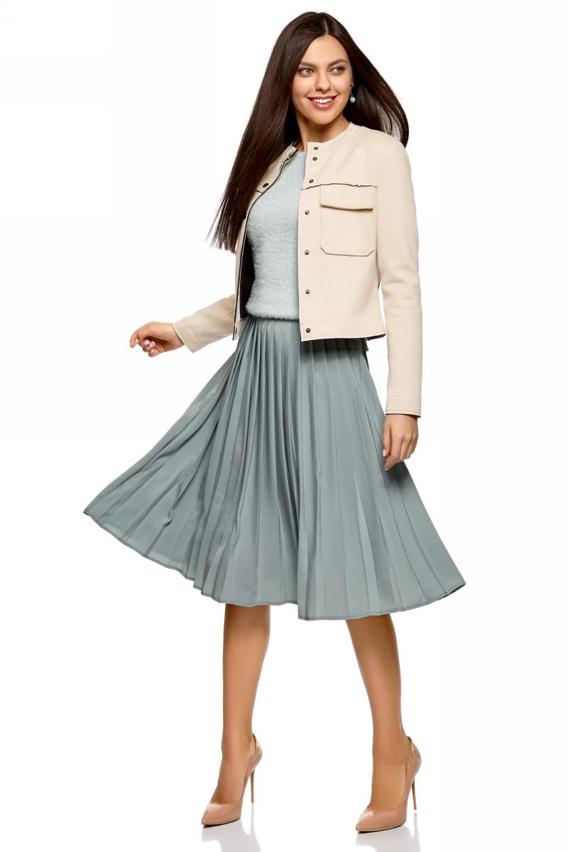 Куртка женская oodji Ultra, цвет: бежевый. 18A03008/46467/3300N. Размер 34 (40-170)18A03008/46467/3300NКуртка из искусственной замши с накладными карманами