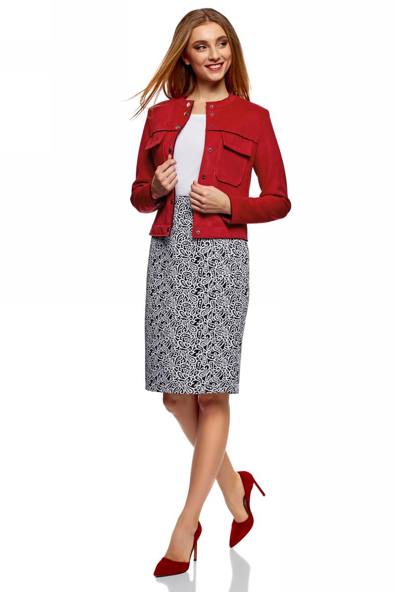 Куртка женская oodji Ultra, цвет: красный. 18A03008/46467/4501N. Размер 40 (46-170)18A03008/46467/4501NКуртка от oodji выполнена из искусственной замши. Модель с длинными рукавами и круглым вырезом горловины застегивается на кнопки. На груди дополнена накладными карманами с клапанами.
