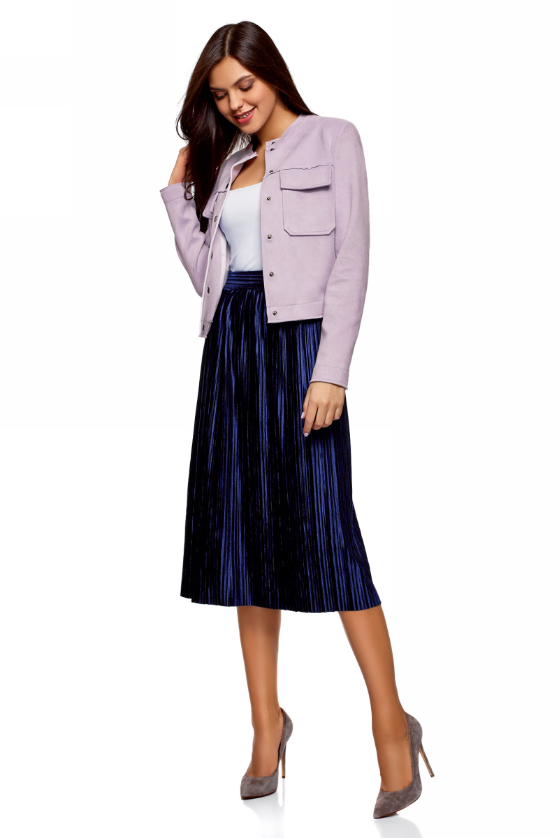 Куртка женская oodji Ultra, цвет: сиреневый. 18A03008/46467/8001N. Размер 36 (42-170)18A03008/46467/8001NКуртка от oodji выполнена из искусственной замши. Модель с длинными рукавами и круглым вырезом горловины застегивается на кнопки. На груди дополнена накладными карманами с клапанами.