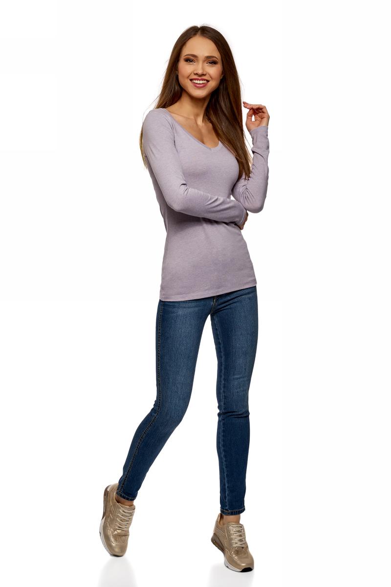 Лонгслив женский oodji Collection, цвет: сиреневый меланж. 24211002B/46147/8000M. Размер XL (50)24211002B/46147/8000MЖенский лонгслив Collection с V-образным вырезом и длинными рукавами выполнен из эластичного хлопка. Такая модель идеально подойдёт для повседневной носки.