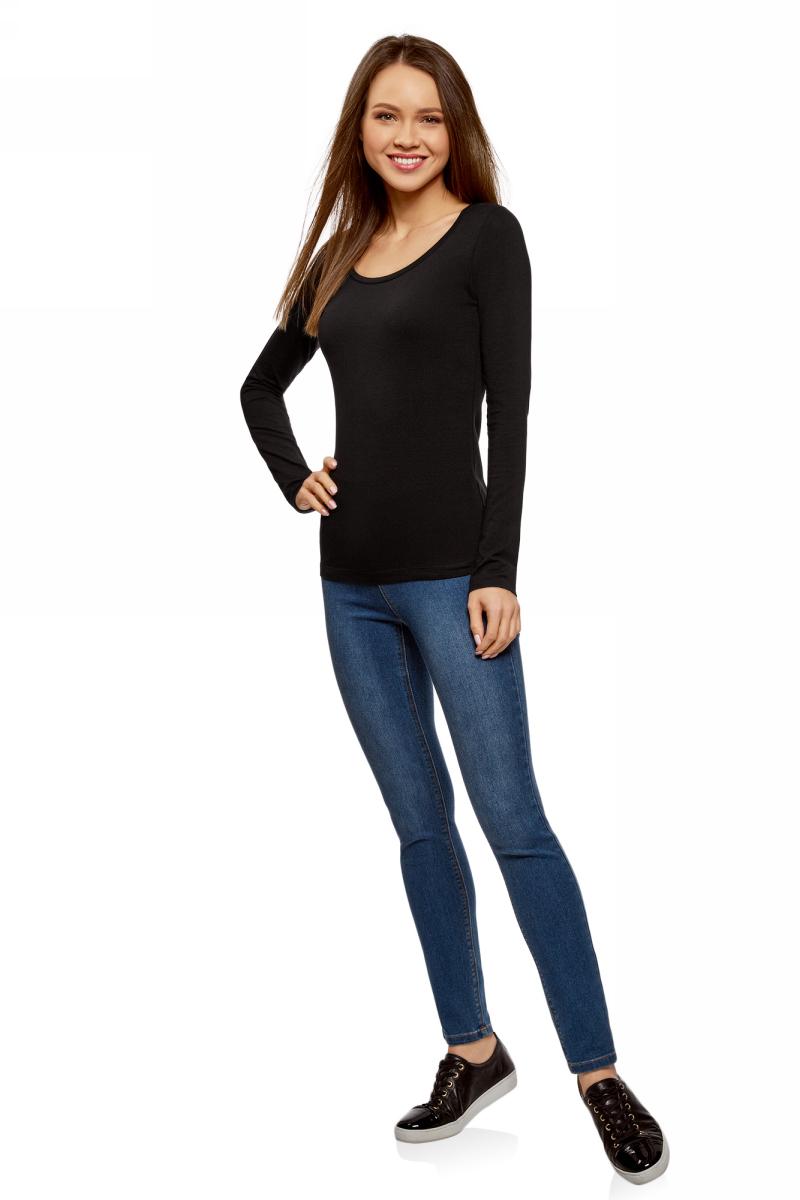 Лонгслив женский oodji Ultra, цвет: черный. 14201034B/46147/2900N. Размер XL (50) пуловеры oodji пуловер