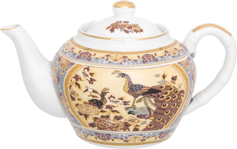 Чайник заварочный Elan Gallery Павлин на бежевом, с ситом, 700 мл