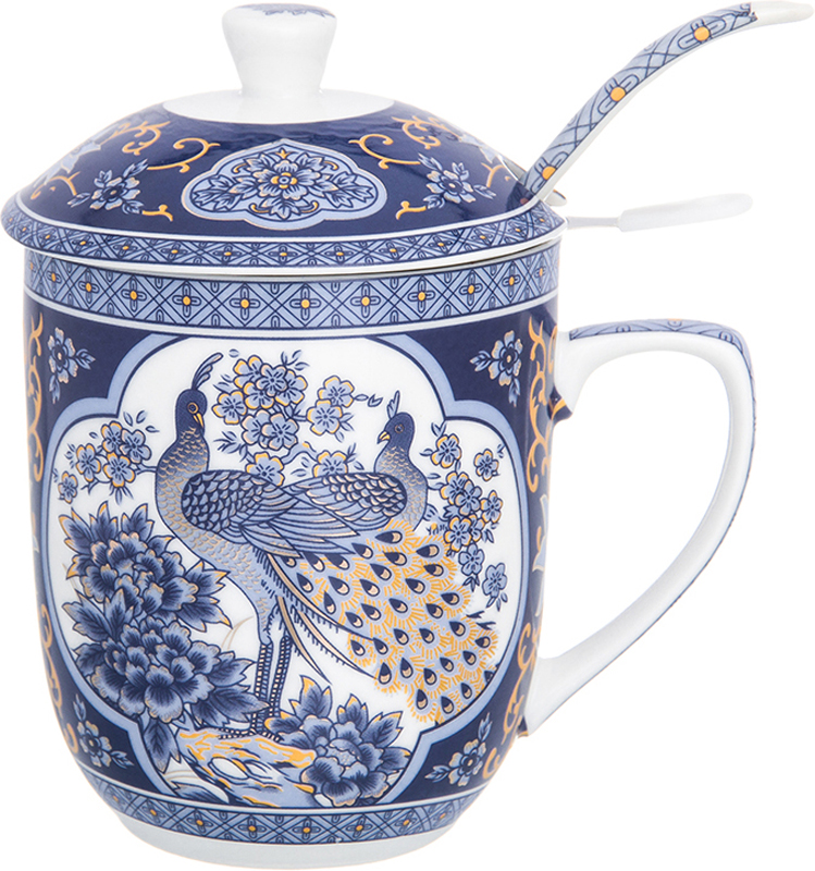 Кружка Elan Gallery Павлин синий, с ложкой и ситом, 320 мл