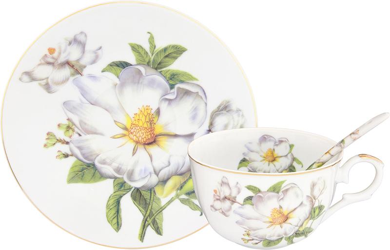 Чайная пара Elan Gallery Белый шиповник, с ложкой, 3 предмета180692Изящная посуда, изготовленная из высококачественной керамики с нежным цветочным дизайном прекрасно дополнит интерьер вашей кухни. А также станет отличным подарком вашим друзьям и близким.