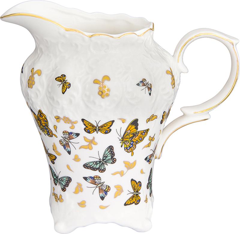 """Кувшин из коллекции """"Бабочки"""" оснащен удобной ручкой. Прекрасно подходит для подачи воды,  сока, компота и других напитков. Изящный кувшин красиво оформит стол и порадует вас  элегантным дизайном."""