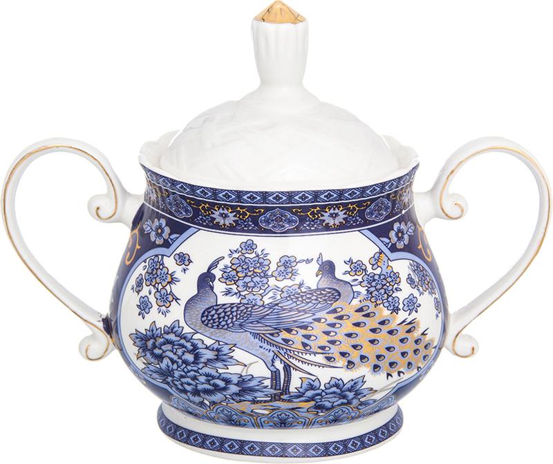Сахарница Elan Gallery Павлин, с крышкой, цвет: синий, 400 мл набор чайных пар elan gallery павлин синий с ложками 6 предметов