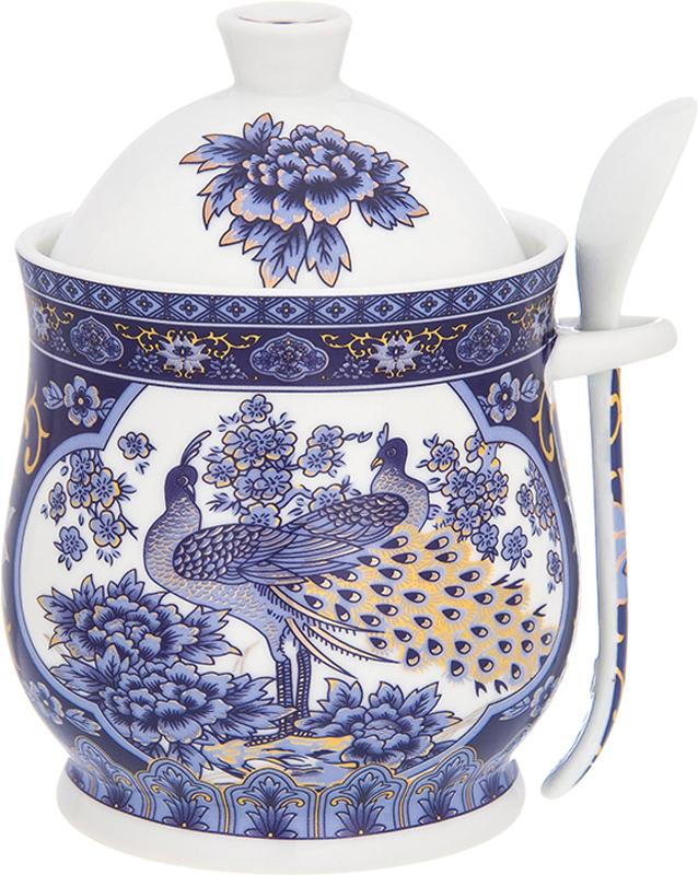 Горшочек для меда Elan Gallery Павлин синий, с ложкой, 340 мл181080Горшочек для меда - удобный предмет для хранения любимого лакомства в оригинальном исполнении. Дополнит облик вашей кухни и прекрасно впишется в интерьер. Станет отличным подарком для любой хозяйки.