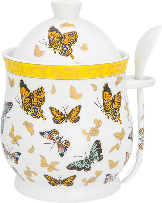 Горшочек для меда Elan Gallery Бабочки, с ложкой, 340 мл горшочек для меда elan gallery маки 0 34 л с ложкой