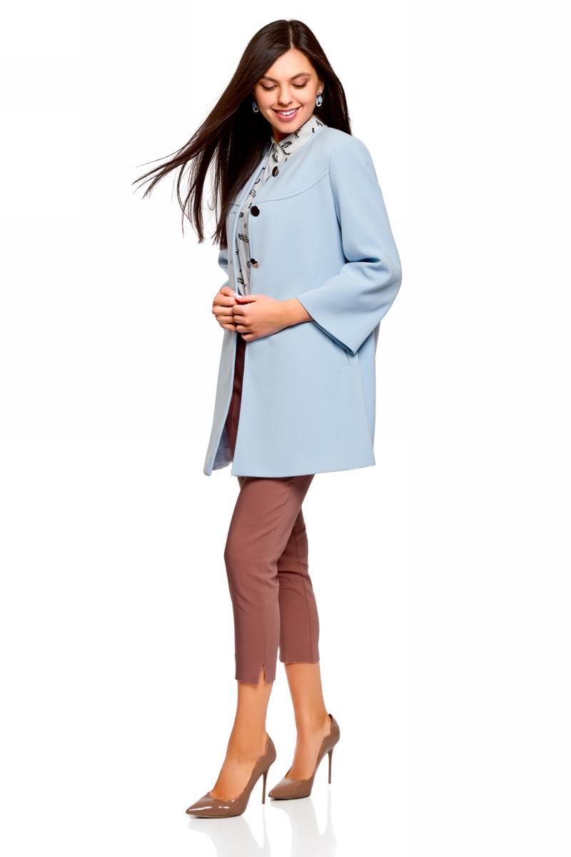 цены Пальто женское oodji Ultra, цвет: голубой. 10103023-1/45223/7001N. Размер 34 (40-170)