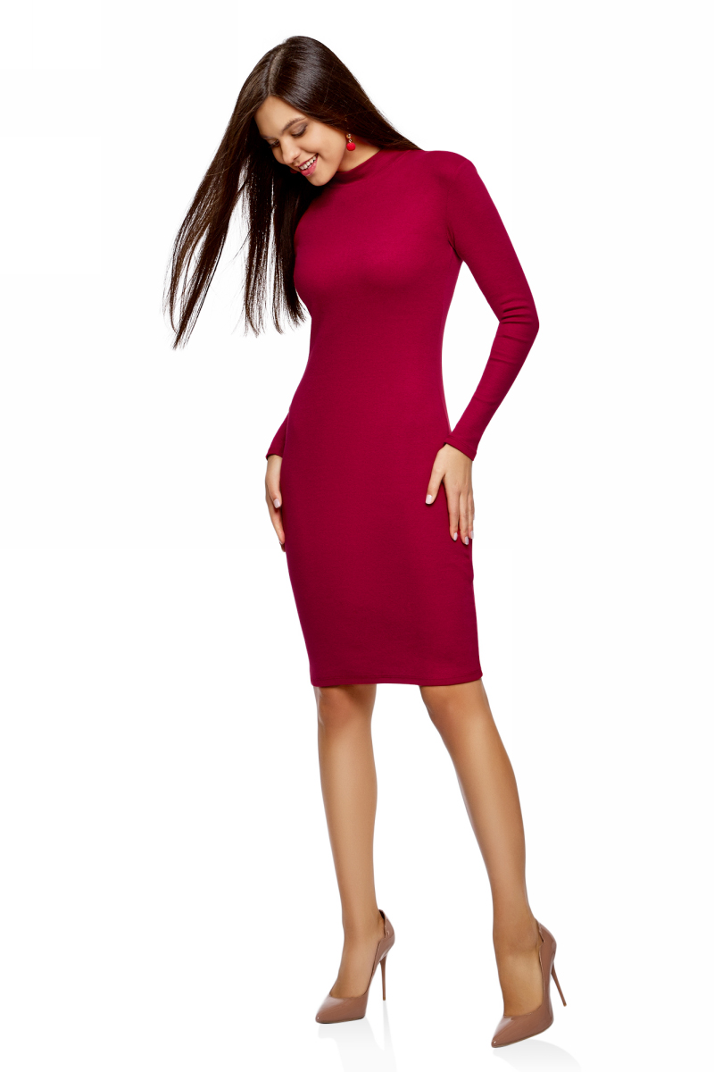 Платье oodji Ultra, цвет: бордовый. 14011035-1B/48002/4900N. Размер S (44)14011035-1B/48002/4900NТрикотажное платье станет отличным дополнением вашего повседневного образа. Модель приталенная, с длинными рукавами и воротником-стойкой.