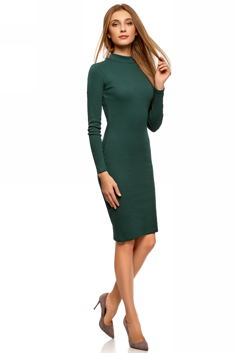 Платье oodji Ultra, цвет: темно-зеленый. 14011035-1B/48002/6900N. Размер L (48)14011035-1B/48002/6900NТрикотажное платье станет отличным дополнением вашего повседневного образа. Модель приталенная, с длинными рукавами и воротником-стойкой.