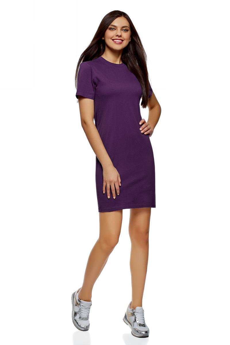 Платье oodji Ultra, цвет: темно-фиолетовый. 14001194B/46154/8800N. Размер XS (42)14001194B/46154/8800NПлатье от oodji выполнено из натурального хлопкового трикотажа. Модель прямого кроя с короткими рукавами и круглым вырезом горловины.