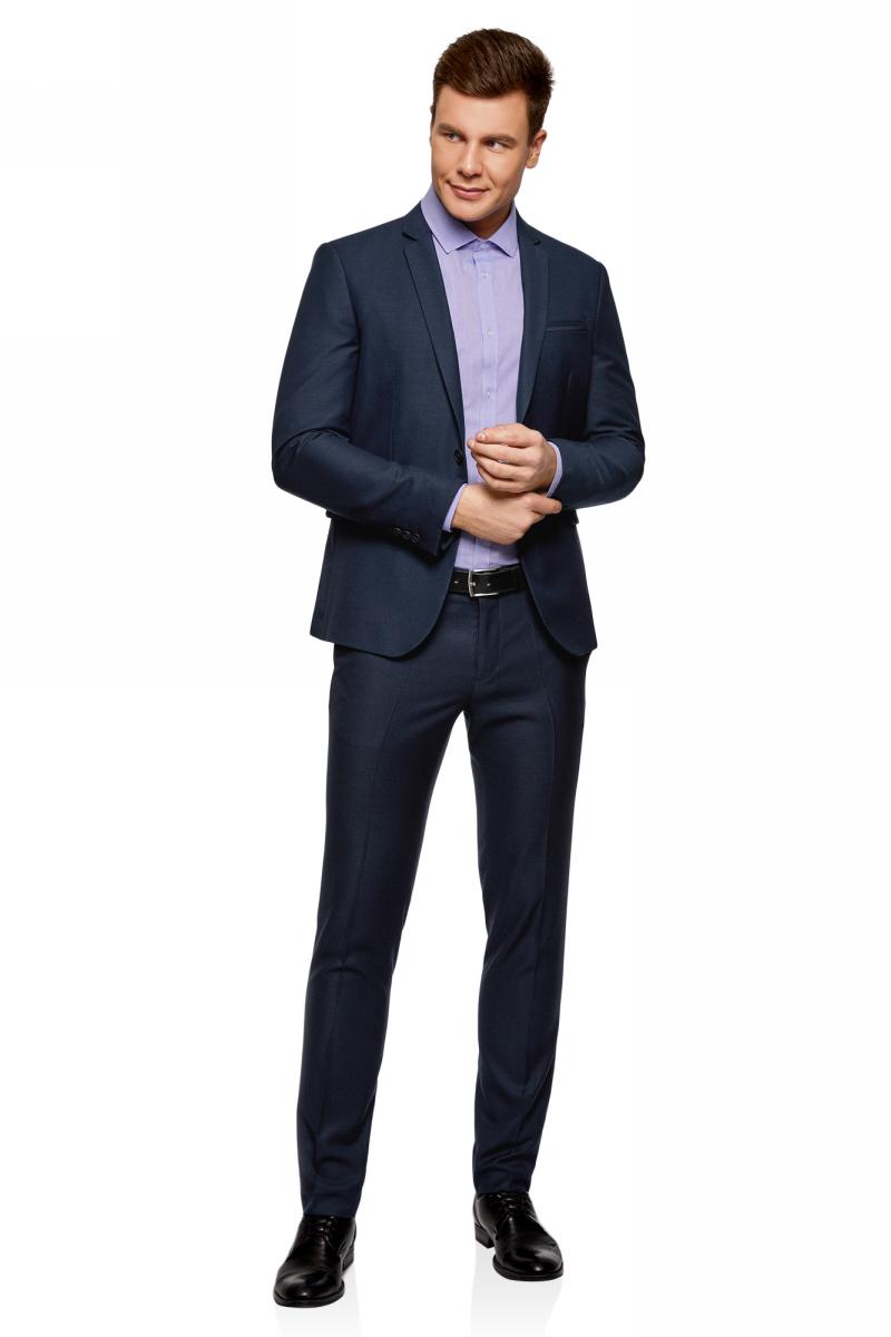 Рубашка мужская oodji Lab, цвет: голубой, синий. 3L110313M/47779N/7075O. Размер 42 (52-182)3L110313M/47779N/7075OРубашка от oodji выполнена из натурального хлопка. Модель приталенного кроя с длинными рукавами и отложным воротником застегивается на пуговицы.