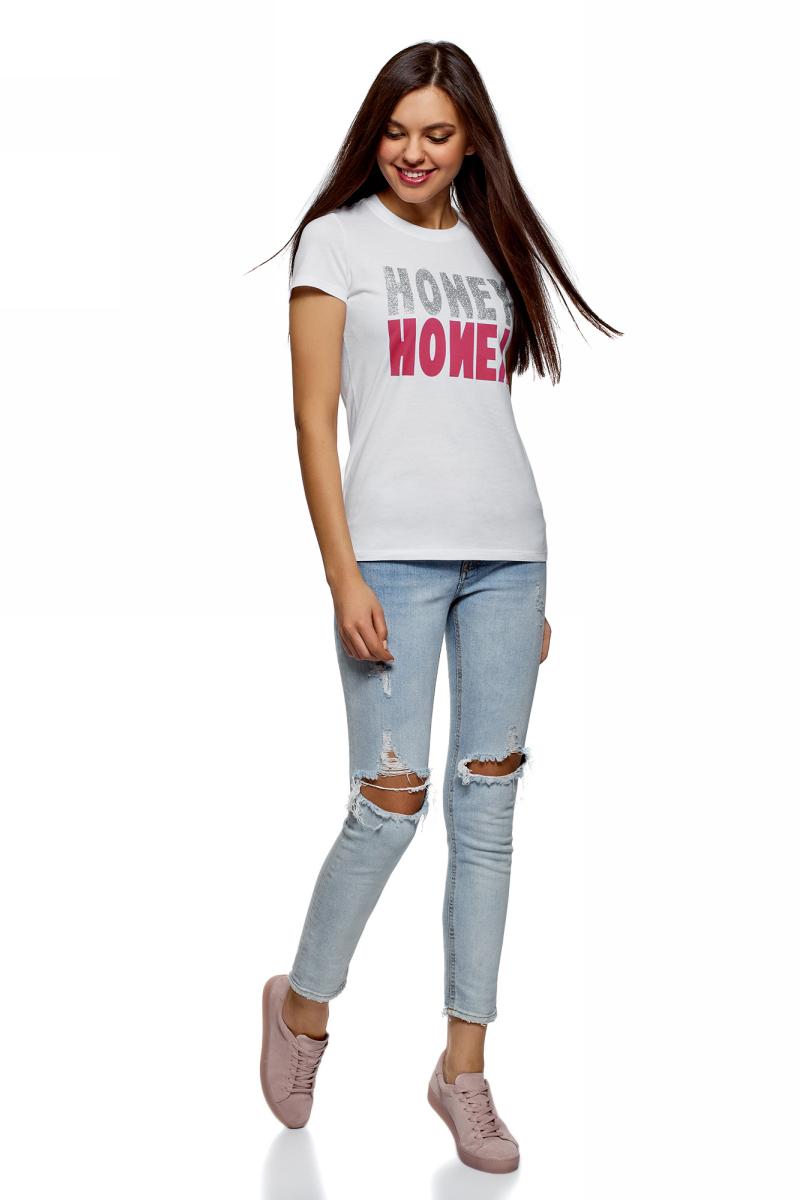 Футболка женская oodji Ultra, цвет: белый. 14701078-2/48005/1091P. Размер S (44)14701078-2/48005/1091PЖенская футболка от oodji выполнена из натурального хлопка. Модель с короткими рукавами и круглым вырезом горловины, спереди оформлена стильными надписями.
