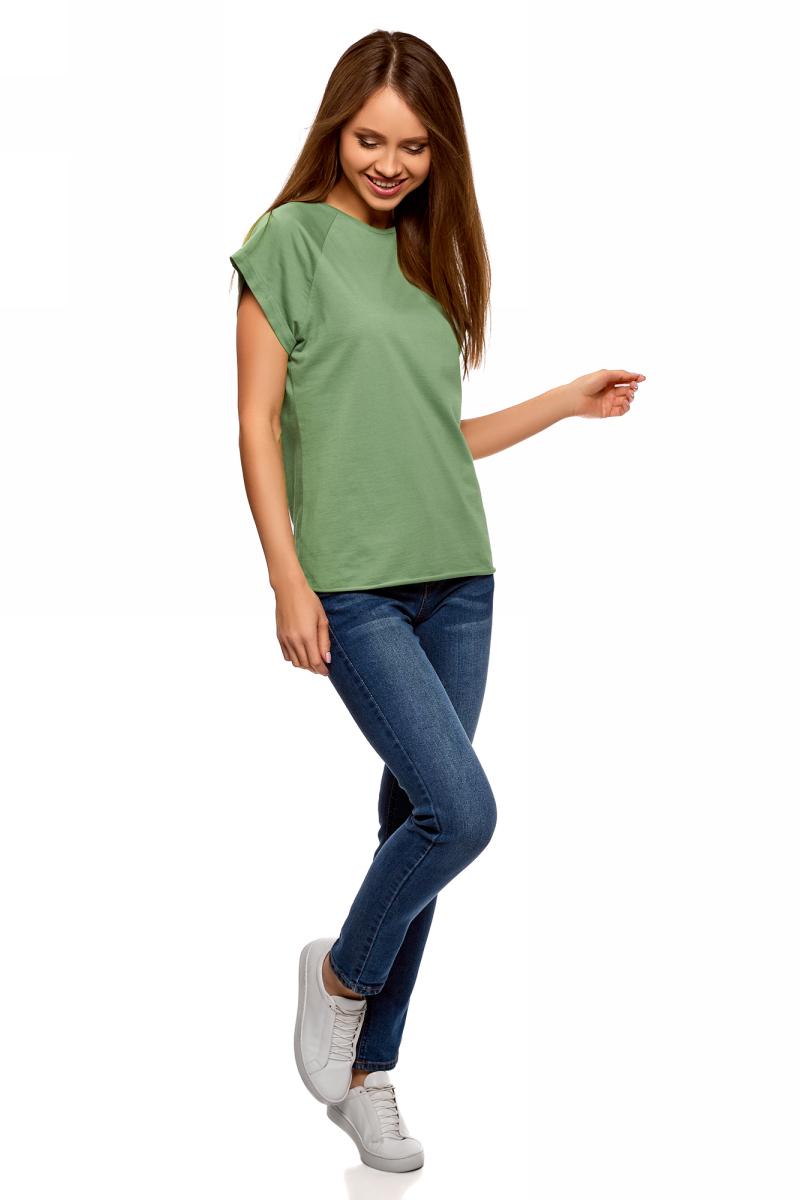 Футболка женская oodji Ultra, цвет: серо-зеленый. 14707001-4B/46154/6200N. Размер L (48)14707001-4B/46154/6200NЖенская футболка выполнена из хлопка. Модель с круглым вырезом горловины и короткими рукавами реглан, дополненными отворотом.