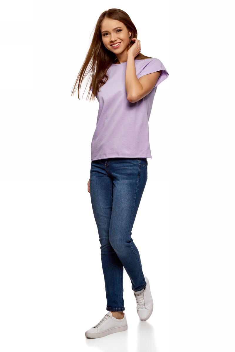 Футболка женская oodji Ultra, цвет: сиреневый. 14707001-4B/46154/8000N. Размер XL (50)14707001-4B/46154/8000NЖенская футболка выполнена из хлопка. Модель с круглым вырезом горловины и короткими рукавами реглан, дополненными отворотом.