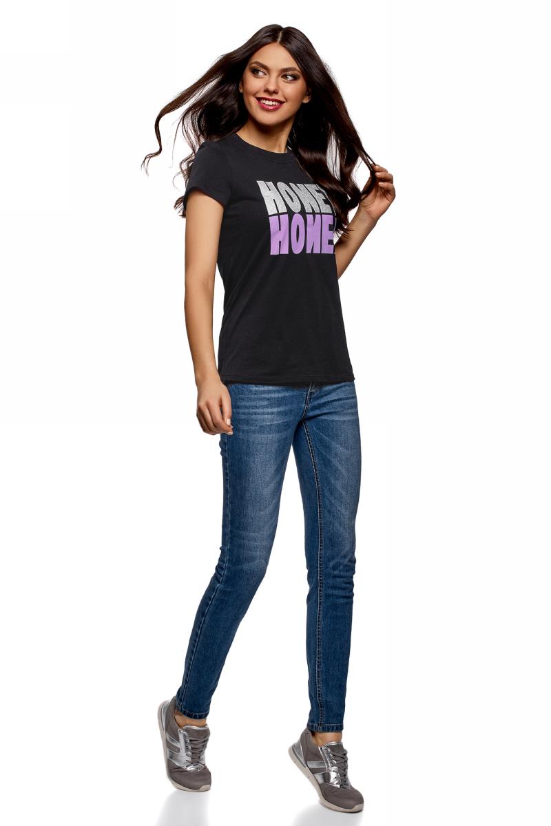 Футболка женская oodji Ultra, цвет: черный. 14701078-2/48005/2991P. Размер XXS (40)14701078-2/48005/2991PЖенская футболка от oodji выполнена из натурального хлопка. Модель с короткими рукавами и круглым вырезом горловины, спереди оформлена стильными надписями.