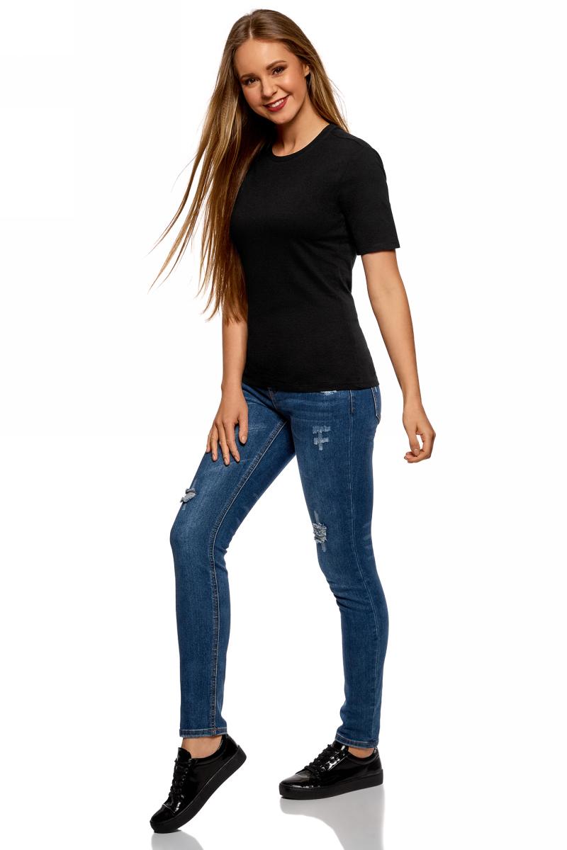 Футболка женская oodji Ultra, цвет: черный. 14701079B/46158/2900N. Размер S (44)14701079B/46158/2900NБазовая футболка от oodji выполнена из натурального хлопка. Модель свободного кроя с короткими рукавами и круглым вырезом горловины.