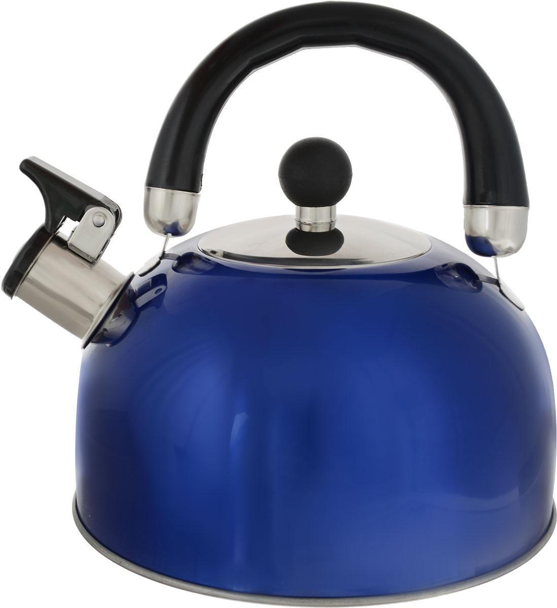 Чайник Teco, со свистком, цвет: синий, 2,8 лTC-117_синийЧайник Teco, со свистком, цвет: синий, 2,8 л