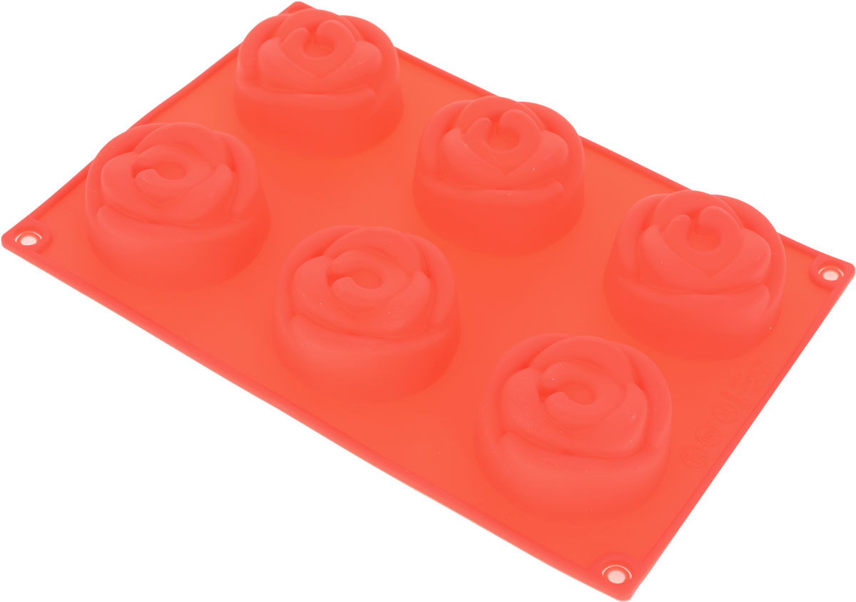 Форма для выпечки Доляна Розочки, цвет: красный, 22 х 15 х 3 см, 6 ячеек